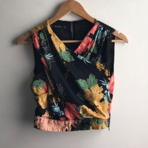 Zara black floral faux wrap high neck crop top